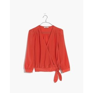 Madewell Silk Wrap Top in New Copper